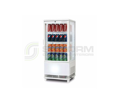 Bromic –  CT0080G4WC White Curved Glass 80L LED Countertop Beverage Chiller | countertop-chiller-fridges