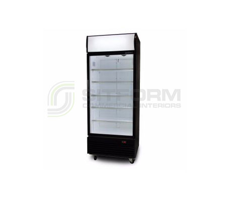 Bromic – GM0660LB LED ECO Flat Glass Door 660L Upright Display Chiller with Lightbox (Black) | Floor Standing - Cold Displays
