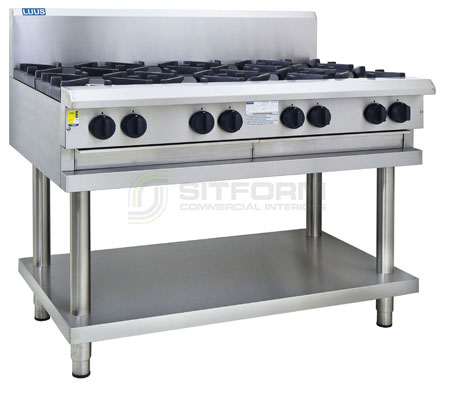 Luus  Professional Series CS-8B – 8 Burner Cooktop with flame failure, legs & shelf | Cooktops