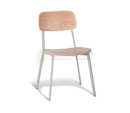 Ellen Chair : Natural Oak Back / Cool Grey Frame – With Veneer Seat | Metal & Timber Chairs