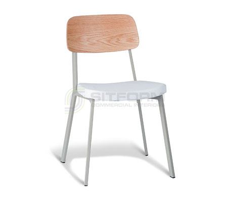 Ellen Chair – Natural Oak Back / Cool Grey Frame – With White PU | Metal & Timber Chairs