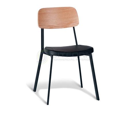 Ellen Chair – Natural Oak Back / Black Frame / Black PU | Metal & Timber Chairs