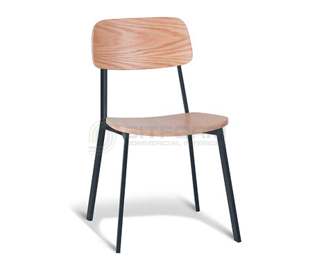 Ellen Chair: Natural Oak Back / Black Frame – With Veneer Seat | Metal & Timber Chairs