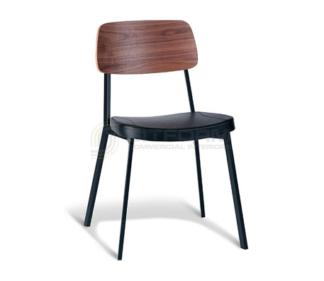 Ellen Chair – Walnut Back / Black Frame / Black PU | Metal & Timber Chairs