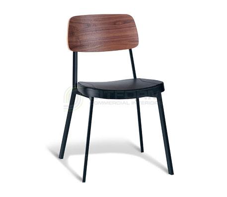 Ellen Chair – Walnut Back / Black Frame / Black PU   Metal & Timber Chairs