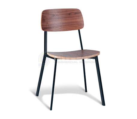 Ellen Chair: Walnut Back / Black Frame/ With Veneer Seat | Metal & Timber Chairs