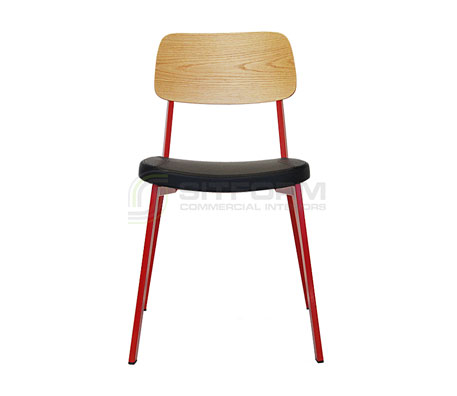 Ellen Chair – Natural Oak Back / Red Frame /Black PU | Metal & Timber Chairs