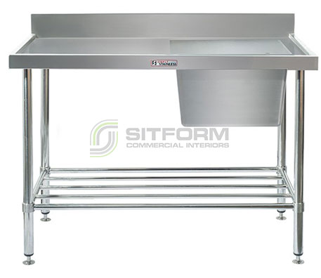 Simply Stainless SS05.1200.R Sink Bench with Splashback | Sink Benches