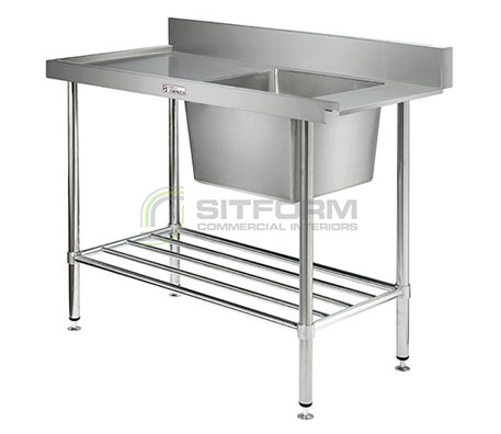 Simply Stainless SS08.1200L Dishwasher Inlet Bench 600mmDepth | Sink Benches
