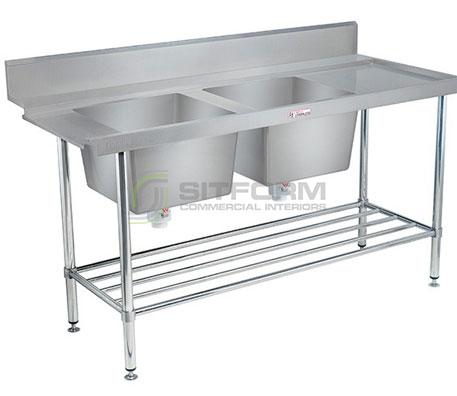 Simply Stainless SS09.1650.DBR Double Sink Dishwasher Inlet Bench | Sink Benches
