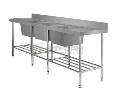 Simply Stainless SS24.2400.TB Triple Bowl Sink Bench | Sink Benches