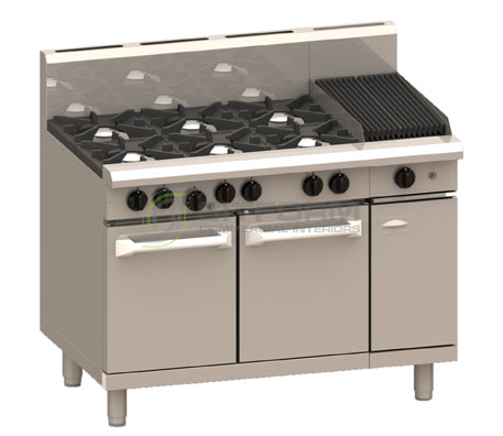 Luus Professional Series RS-6B3C – 6 Burner 300mm Chargrill & Oven with flame failure | Ranges