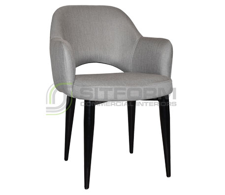 Maya Arm chair - Metal Black Frame, Fabric Seat