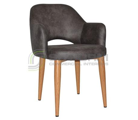 Maya Arm chair - Metal, Light Oak, Eastwood Fabric