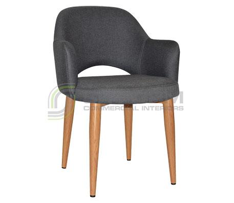 Maya Arm chair - Metal, Light Oak, Fabric