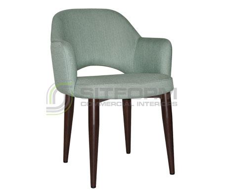 Maya Arm chair - Metal, Dark Walnut, Fabric