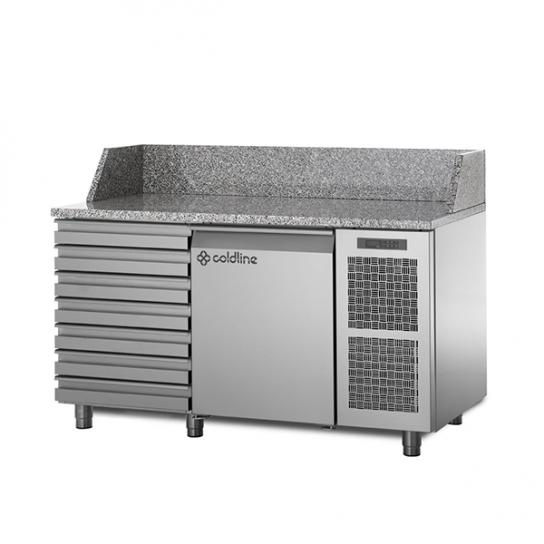Coldline TZ09/1MC – 1 Door + 7 Drawers Pizza Prep Bench, Granite Top | Food Preparation