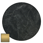 ZET TOP BRASS EDGE RD 600MM BLACK MARBLE | Commercial Table Tops | Commercial Furniture & Fit Outs
