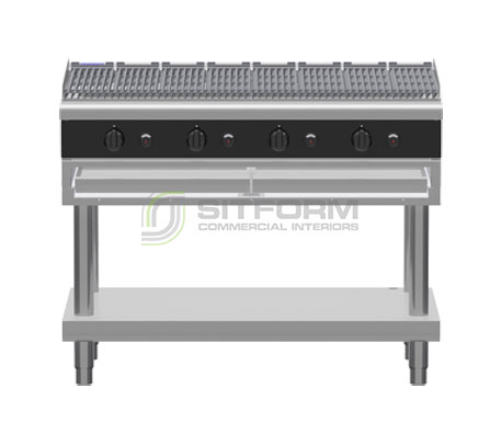 Waldorf Bold CHLB8120G-LS – 1200mm Gas Chargrill Low Back Version – Leg Stand | Char Grills & Barbecues