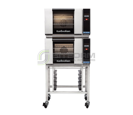 Turbofan E23T3/2C – Half Size Electric Convection Oven – Touch Screen Control -Double Stacked on a Stainless Steel Base Stand | Convection Ovens