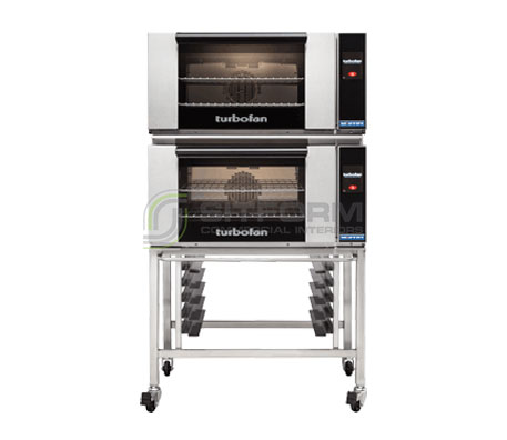 Turbofan E27T2/2 – Full Size Electric Convection Ovens Touch Screen Control Double Stacked on a Stainless Steel Base Stand | Convection Ovens