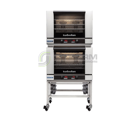 Turbofan E28D4/2C – Full Size – Digital Electric Convection Ovens – Double Stacked on a Stainless Steel Base Stand | Convection Ovens