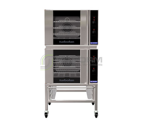 Turbofan E30M3/2C – GN 1/1 Manual / Electric Convection Ovens – Double Stacked – on a Stainless Steel Base Stand | Convection Ovens
