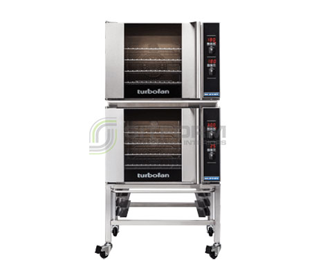 Turbofan E31D4/2C – Half Size Tray – Digital Electric Convection Ovens Double Stacked – With Castor Base Stand | Convection Ovens