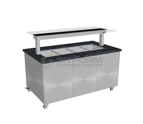 Culinaire CH.IBGS.BMC.U.GSB – Heated Island Buffet (Stone Top, Stainless Steel Panels) | Island Buffet
