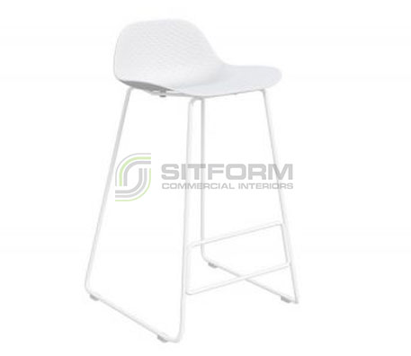 Emboss Counter Stool – White Frame + White Seat (650 Seat Height) | Stools