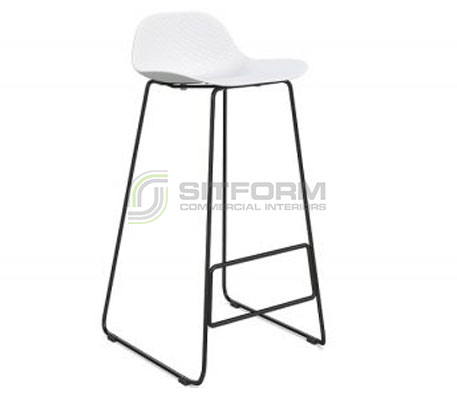 Emboss Bar Stool – Black Frame + White Seat (760 Seat Height) | Stools
