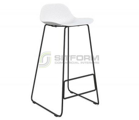 Emboss Bar Stool – Black Frame + White Seat (760 Seat Height)   Stools
