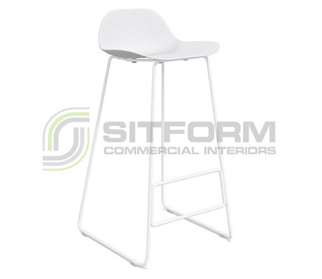 Emboss Bar Stool – White Frame + White Seat (760 Seat Height)   Stools