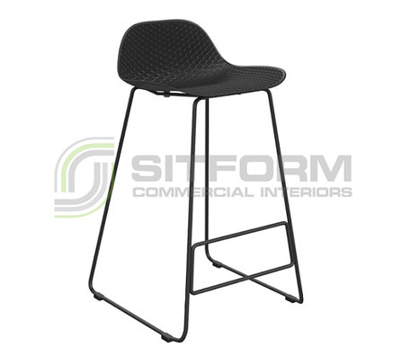 Emboss Counter Stool – Black Frame + Black Seat (650 Seat Height) | Stools