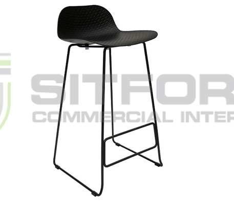 Emboss Bar Stool – Black Frame + Black Seat (760 Seat Height) | Stools