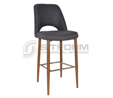 Maya Stool – 750 Metal Light Oak Frame – Gravity Fabric Upholstery | Stools