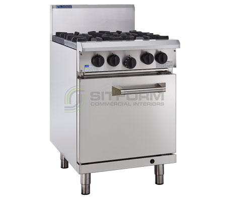 Luus Professional Series RS-4B-P – 4 Burner & Oven with flame failure & pilot to open burners | Commercial Kitchen Equipment