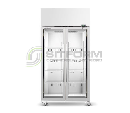 SKOPE  TME ActiveCore TME1000N-A *2 Glass Door Display or Storage Fridge – White | Floor Standing - Cold Displays