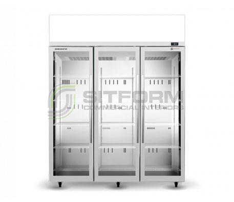 SKOPE  TME ActiveCore TME1500N-AC *3 Glass Door Display or Storage Fridge, Lit Sign – White   Floor Standing - Cold Displays